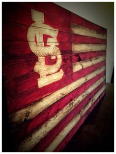 St. Louis Cardinals Flag Vintage Saint Louis Cardinals baseball wood flags. This is a retro flag style and is heavily weathered and aged.  This retro St Louis Cardinals flag style coloring is in classic red/white Wood flag size 36x20  Back side of St Louis Cardinals flag sign is stained in ebony with D ring hangers for picture wire or screws for mounting.  Perfect for family rooms, outdoor deck display, and sports bars.