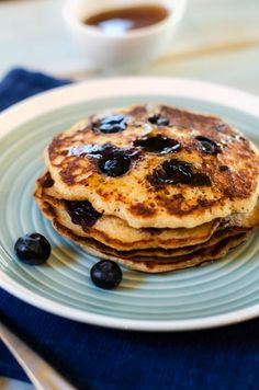 blueberry quinoa pancakes. calls for coconut palm sugar, quinoa flour, etc. but looks so delicious