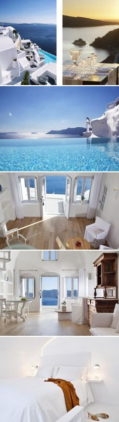 ~| Katikies Hotel in greece! -Not a bad view ...can't get much closer to the oceanfront than this! |~ ♠ re-pinned by http://www.waterfront-properties.com/