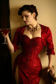 Steampunk villainess. Can we take a second to check out that slit up the side... Fantastic