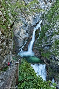Waterfalls, Savica Falls, lake Bohinj, Slovenia