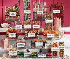 Candy bar with labels