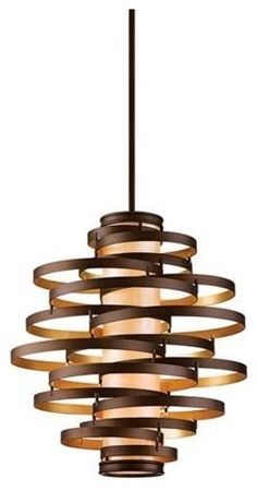"Vertigo Large Pendant Light  Get a bit of Bravura Modern style without going completely overboard with this hand-crafted iron pendant light.    Bronze/gold leaf finish.  Hang straight canopy.  Caramel ice diffuser.  akes four 60 watt bulbs (not included).  Includes 6"", 12"" (x2) and 18"" stems.  30"" wide, 32 3/4"" high.  81 3/4"" max hang height."