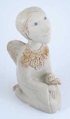Ceramic handmade kneeling angel. Made from chamotte by Midene. SC53