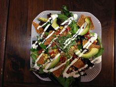 Raw Taco Salad from Vegeria in San Antonio. The white zig zag on top is Raw Vegan Sour Cream. Very tasty! August 23, 2013