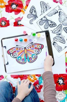 We love coloring pages! Here is a fun and free butterfly coloring page.