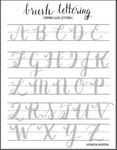 Diy Crafts Ideas : Brush Lettering Uppercase Letters Worksheet by Destination Decoration