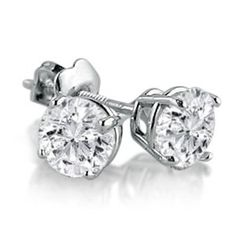 IGI Certified 14K White Gold Round Diamond Stud Earrings (1cttw ) Amanda Rose Collection. $895.95