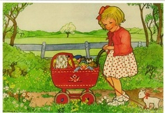 A buggy full. by Rie Cramer Vintage Children's Books, Vintage Ephemera, Vintage Cards, Vintage Postcards, Art And Illustration, Vintage Illustrations, Images Vintage, Vintage Pictures, Little Doll
