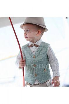 2b2040c6b86 Βαπτιστικά ρούχα για αγόρι της Stova Bambini μοντέρνο σετ με μπεζ παντελόνι  και υπέροχο γιλέκο στο