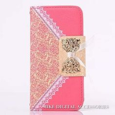 Nice Elegant PU Leather Fashion Lace Bowknot Accent Vintage Style Wallet Cellphone Case for iPhone 6 Colors