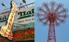 Nathan's Famous (left) and the Coney Island Parachute Jump (right)