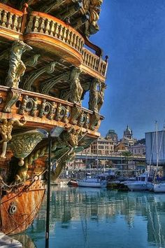 I love Italy! #Mediterannean Architecture Genoa, Italy #BucketList Sailboats in the Harbor.