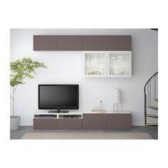 БЕСТО Шкаф для ТВ, комбин/стеклян дверцы - белый/Вальвикен темно-коричневый, прозрачное стекло, направляющие ящика, плавно закр - IKEA