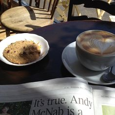 coffee and a cookie with the paper in the best coffee shop Leigh On Sea, Best Coffee Shop, Latte, Cookie, Paper, Tableware, Travel, Food, Biscuit