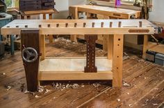 Custom made Roubo Workbench Workbench Vice, Workbench Plans, Woodworking Workbench, Woodworking Shop, Woodworking Projects, Wood Projects, Tool Bench, Bench With Storage, Wood Trellis