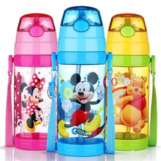 Disney Water Bottle Mickey Mouse Kids straw My Water Bottle Bickiepegs Baby water Cup Cartoon Plastic Water Tumbler BPA Free Disney Water Bottle, Water Tumbler, Age Regression, Camping Activities, Drinkware, Pet Toys, Mickey Mouse, Cartoon, Pets