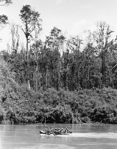 Paratroopers of the 173rd U.S. airborne brigade make their way across the Song Be River in South Vietnam en route to the jungle on the North Bank and into operation Sioux City in the D Zone on Oct. 4, 1966. Troopers and equipment were flown in by helicopter to the central highlands area, but the choppers couldn't land in the D zone jungles. The operation began late in the week of September 25. (AP Photo)