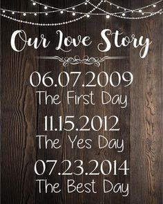Our Love Story sign. rustic wedding dates sign. engagement date sign. important family dates. Wedding Videos, Wedding Tips, Fall Wedding, Wedding Events, Diy Wedding, Wedding Ceremony, Destination Wedding, Dream Wedding, Wedding Stuff
