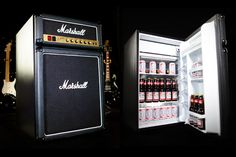 "Mix your love of rock with your love of beer in an all new way with the Marshall Amp Fridge ($300). Carrying Jim Marshall's signature logos and facing, and control knobs that go to eleven, you'd be hard pressed to notice it's a fridge, but if you do, inside you'll find 4.4 cubic feet of space, can-specific storage, and a high efficiency freezer. Speaker to play ""Cold as Ice"" every time you open the door not included"