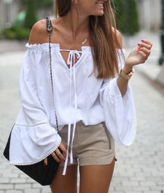 d2c85a43aaad98 White Long Sleeve Style Off The Shoulder Blouses Casual Summer Beach Batwing  Sleeve Loose Blouse and