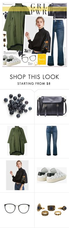 """SheIn - Black Blouse"" by stylemeup-649 ❤ liked on Polyvore featuring Moncler, Frame, Yves Saint Laurent, Linda Farrow and Sarah & Sebastian"
