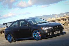 Mitsubishi Evolution X on F Zero Blue Volk TE37s