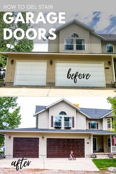 Learning how to gel stain garage doors is so easy and it can add a major impact to your curb appeal in a matter of hours! via @longbournfarm Precision Garage Doors, Garage Door Hardware, Carriage Garage Doors, Lawn Chairs, Back Doors, Country Farm, Curb Appeal, Shed, Outdoor Structures