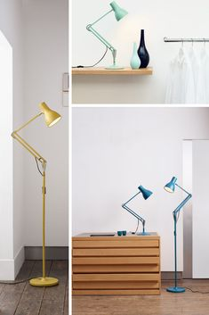 Esteemed British designer Margaret Howell has frequently championed the Anglepoise® lamp, admiring the similar design qualities that are the essence of her clothing: simplicity, functionality, authenticity, and timelessness. Following the success of the Yellow Ochre Edition, which was colour-matched to an original 1970's Anglepoise® lamp, Margaret adds three new complementary colours to the desk lamp collection - Saxon Blue, Sienna and Seagrass. #floor #desk #lamp #light #yellow #blue #seagrass Home Living Room, Living Room Designs, Desk Light, Lamp Light, Floor Lamp, Floor Desk, Anglepoise Lamp, Table Lamps For Bedroom, Margaret Howell