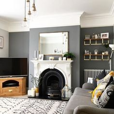 Thank you to the lovely for the tag earlier! Sorry for the delay, I've been so busy at work today interviewing! 1930s Living Room, Victorian Living Room, Living Room Grey, Home Living Room, Living Room Decor, Edwardian House, Victorian Terrace, 1930s House Interior, Interior Design Living Room