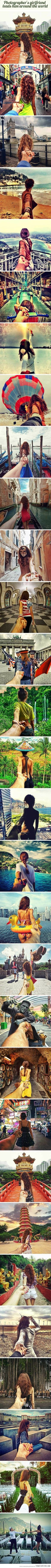 Photographers girlfriend leads him around the world... AWWWW