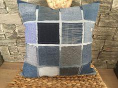 Denim Pillow , Decorative Pillow , Denim Decorative Throw Pillow , Farmhouse Pillow , Checkered Pillow , Denim Sham Pillow , Living Room by SecondBirthday on Etsy