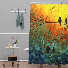 Found it at Wayfair - Madart Inc. Birds Of A Feather Extra Long Shower Curtain