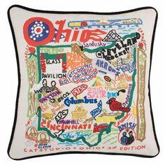 State of Ohio Embroidered Pillow - Ohio Souvenir Catstudio