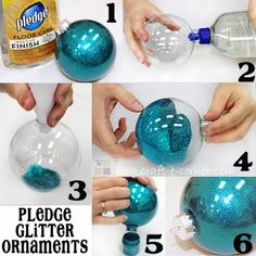 Craft-e-Corner Blog * Celebrate Your Creativity: Easy 6 Step Pledge Glitter Ornaments (using this idea for the beaded ornament covers I make! great way to compliment them instead of a clear glass ball)