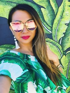 sunglasses, cute sunglasses, spring dresses, spring outfit, leaf print, tassel necklaces, what to wear, outfit inspiration, outfit ideas, spring outfit ideas, cute sunglasses, ruffle dresses