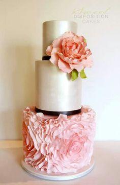 Pink Metallic Cake #palepink #weddingcake