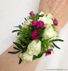 Bridesmaid Wrist Corsage featuring Spray Roses, Freesia and Sweet William on a pearl bracelet    Wedding Flowers Liverpool, Merseyside, Bridal Florist, Booker Flowers and Gifts, Booker Weddings