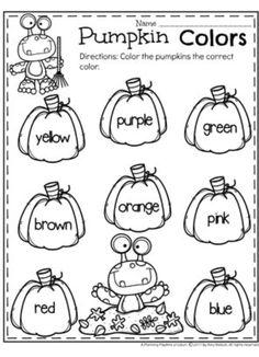 Pumpkin Preschool Color Worksheets for October. Color Worksheets For Preschool, Halloween Worksheets, Preschool Colors, Fall Preschool, Kindergarten Learning, Preschool Learning Activities, Preschool Lessons, Kindergarten Worksheets, Preschool Ideas