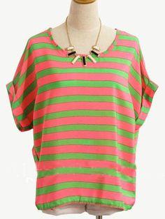 Green And Pink Round Neck Short Sleeve Striped Chiffon Shirt
