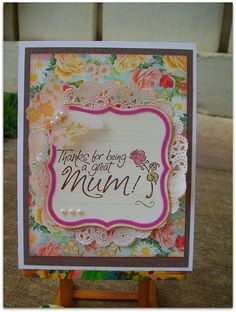 Mothers Day Handmade card Thanks for being a great by nadyasworld,