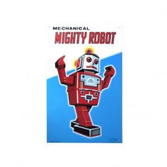 Robot Metal Poster: Great for a kid's room. #Robot #Poster