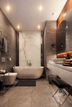 Often we have found that people love nothing more than to come up with new master bathroom ideas for their home. It can be one of the most exhilarating features to design and complete for owners. Your master bathroom is… Continue Reading → Home Design, Küchen Design, Design Ideas, Interior Design, Modern Master Bathroom, Small Bathroom, Bathroom Grey, Bathroom Wallpaper, Bathroom Tubs