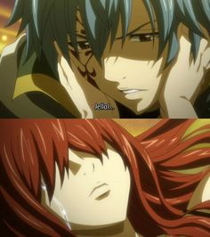 Fairy Tail, Jellal and Erza (Jerza). Anyone else noTice that on this scene she also cries out of her fake eye