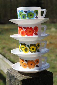 Arcopal France Lotus coffee/tea cups with by SecondHandSandy, $28.00