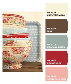 shabby chic wall color palettes with red and blue - Google Search