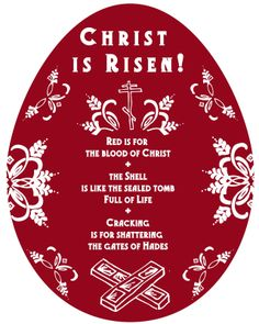 Christ is Risen! Printable Pascha/Easter cards about red eggs and what they mean