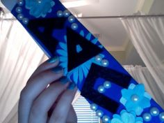 "Sorority ScrapBand. I bought a blue ""bare"" ScrapBand, and decorated it with some left over craft supplies :) 