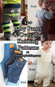 Knitting patterns for baby pants, diaper covers, overalls, dungarees and rompers