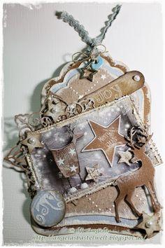 * weihnachtliches Tag mit Studiolight Papier und Dutch Doobadoo Smooth Strukturpaste *